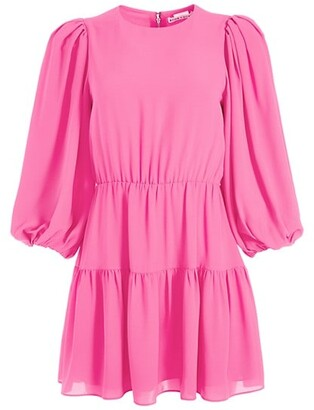 Alice + Olivia Shayla Pleated-Sleeve Tiered Mini Dress