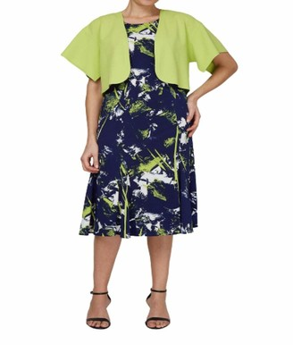 Maya Brooke Women's Plus Size Floral Duster Jacket Dress with Bamboo Trim
