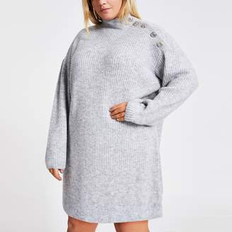 River Island Womens Plus Grey button knitted jumper dress
