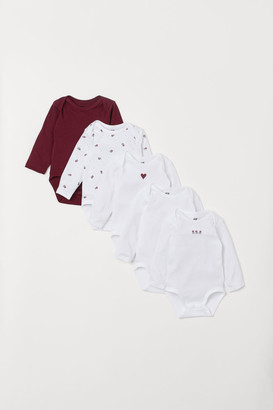 H&M 5-pack Bodysuits with Motif - Red