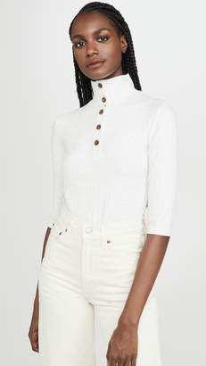 Vince Button Up Elbow Sleeve Top