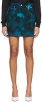 MSGM Navy Denim Tie-Dye Skirt