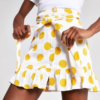 River Island Womens White spot print mini skirt