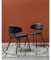 Calligaris Sophia Upholstered Dining Chair Upholstery Color: Black Leather