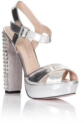 Little Mistress Footwear Silver Diamante Heel Shoes