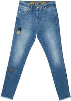 Desigual Women's Denim Pants and Jeans 5160 - Blue Faded Tropical Crop Skinny Jeans - Women