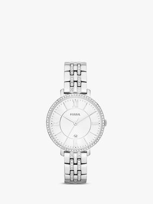 Fossil Women's Jacqueline Crystal Date Bracelet Strap Watch