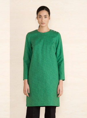 Marimekko Green Birgit Long Sleeves Straight Cut Dress - 36 - Green
