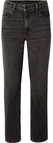 Alexander Wang Cult Cropped High-rise Straight-leg Jeans - Charcoal