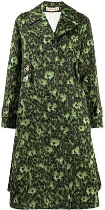 Marni Leopard-Print Matelasse Trench Coat