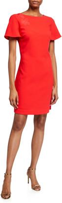 Trina Turk Catch Mesh-Back Classic Crepe Dress