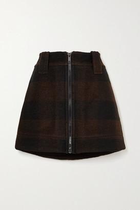 Ganni Checked Wool-blend Mini Skirt - Black