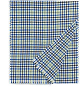 Johnstons of Elgin Green and Blue Sports Check Cashmere Scarf