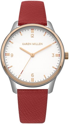 Karen Millen Womens Analogue Classic Quartz Watch with Leather Strap KM167R