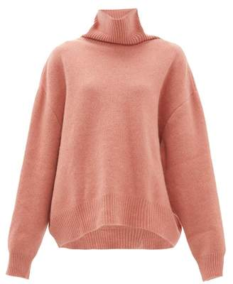 Raey Cropped Displaced-sleeve Roll-neck Wool Sweater - Womens - Pink