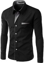 Mada Mens Casual Long Sleeve Business Dress Shirts Solid Color Slim Fit Shirt US Large