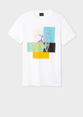 Paul Smith Men's Slim-Fit White 'Bicycle Colour Block' Print T-Shirt