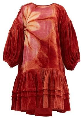 story. Mfg - Verity Tie Dye Organic Cotton Corduroy Dress - Womens - Burgundy Multi