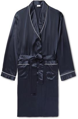 Zimmerli Piped Silk-Satin Robe