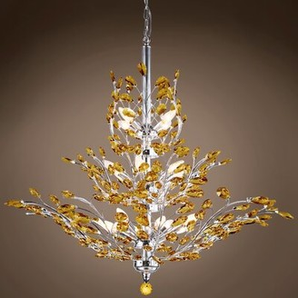 Mefford 13-Light Candle Style Tiered Chandelier House of Hampton Finish: Amber, Bulb Type: LED, Crystal Grade: European