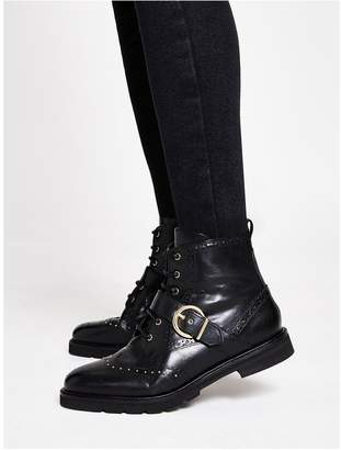 River Island Leather Studded Buckle Boot - Black