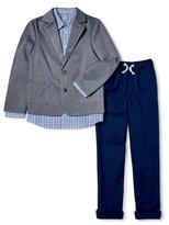 Wonder Nation Boys 4-14 & Husky Suit Set with Knit Blazer, Button-up Shirt and Pants, 3-Piece Outfit Set
