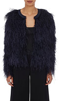 Co Women's Marabou Crop Jacket-NAVY
