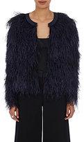 Co Women's Marabou Crop Jacket-NAVY