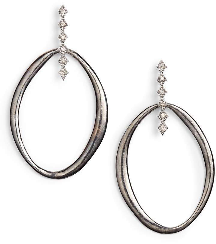 Armenta New World Large Pointed Oval Earrings