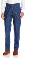 Haggar Men's Work To Weekend Medium Stonewashed No-Iron Pleat-Front Jean