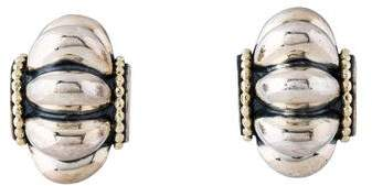 Lagos Two-Tone Fluted Earclip Earrings
