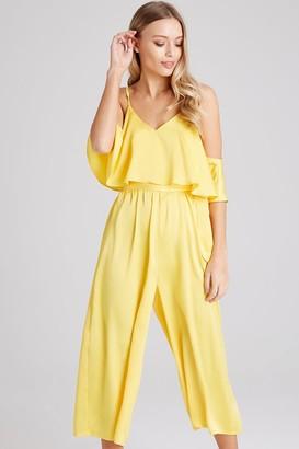 Girls On Film Kassie Yellow Satin Cold-Shoulder Culotte Jumpsuit