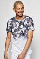 Skull Floral Faded Sublimation T Shirt