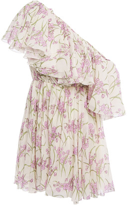 Giambattista Valli One-shoulder Ruffled Floral-print Silk-chiffon Mini Dress