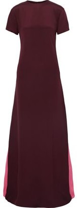 Valentino Two-tone Silk Crepe De Chine Maxi Dress