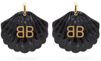 Balenciaga Mermaid Bb-logo Shell Drop Earrings - Womens - Black