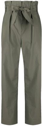 Brunello Cucinelli Paperbag-Waist Khaki Trousers