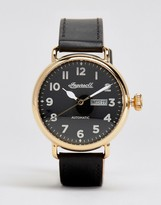 Ingersoll Trenton Quartz Chronograph Leather Watch In Black