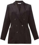 Bella Freud Bianca Herringbone-satin Tailored Jacket - Womens - Black