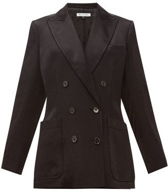 Bella Freud Bianca Herringbone-satin Tailored Jacket - Womens - Black