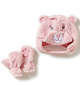 Starting Out Baby Girls Bear Face Sherpa Hat & Mittens Set