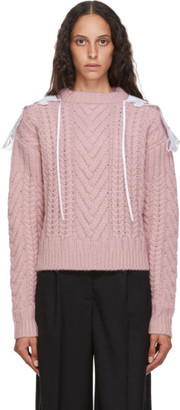 Cecilie Bahnsen Pink Wool and Alpaca Cable Knit Monse Sweater