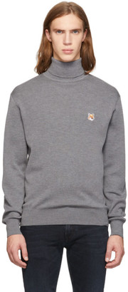 MAISON KITSUNÉ Grey Fox Head Turtleneck Sweater