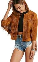 My Wonderful World Blazer Coat Jacket My Wonderful World Women's Collarless Suede Fringe Jacket