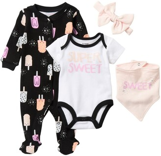 Pl Baby By Petit Lem Sleeper, Headband, Bib, & Bodysuit Set