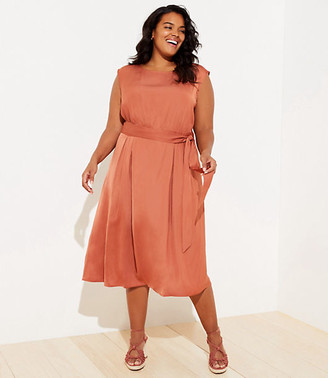 LOFT Plus Tie Waist Pocket Midi Dress