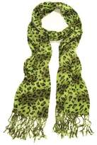 TrendsBlue Elegant Leopard Animal Print Scarf with Fringe - Different Colors Available