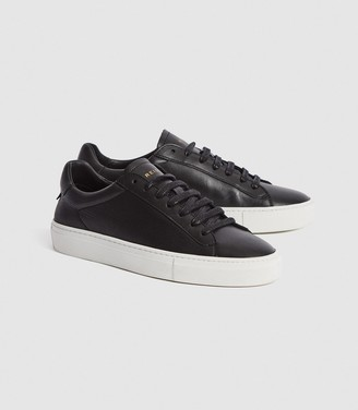 Reiss Finley - Leather Contrast Sole Trainers in Black