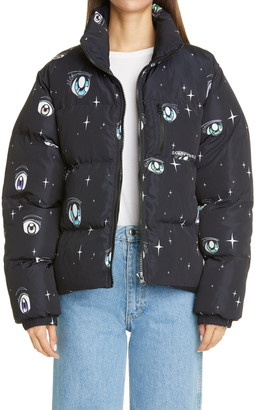 Sandy Liang Luna Eye Print Puffer Jacket