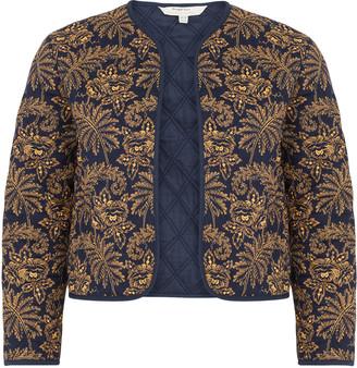 People Tree V&A Rosa Print Jacket - 10 (UK) | organic cotton | navy | GOLD DETAILS - Navy